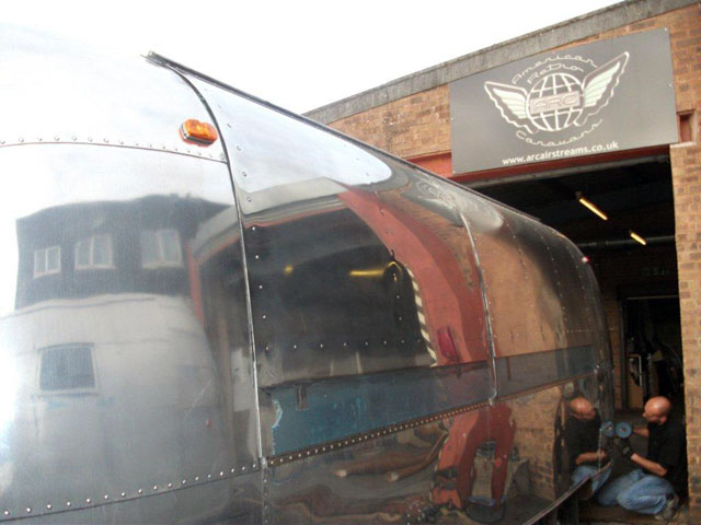 Cafe Airstream at the workshop