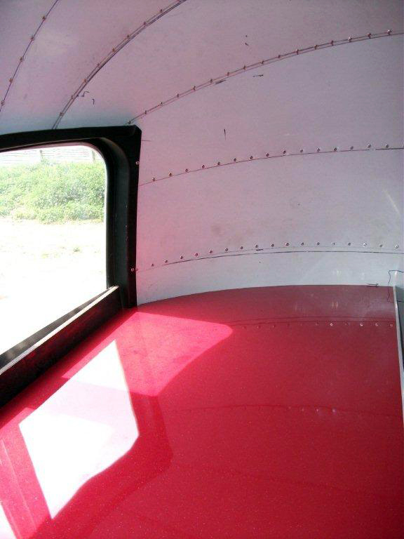 High gloss red worktops in the Cafe Airstream