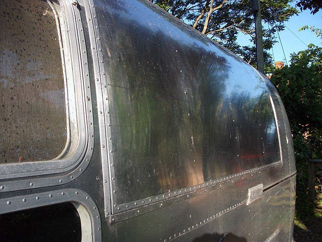 A serving hatch is fitted to an Airstream Caravan