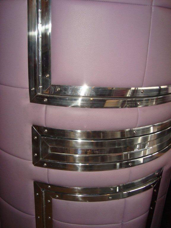 padded purple cocktail cabinet