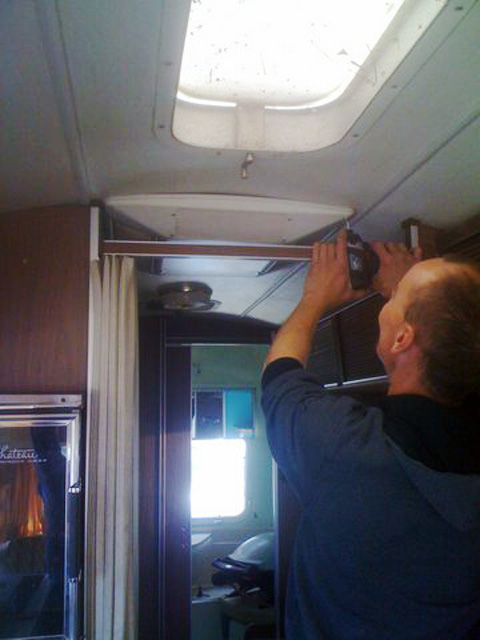 Airstream Aircon cover goes on