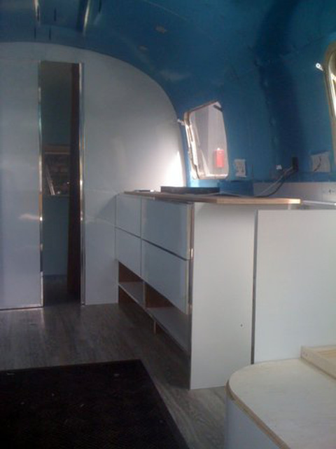 pool house airstream with added bling